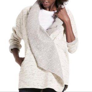 Lucky Brand Gray Fleece Oversized Shawl Cardigan